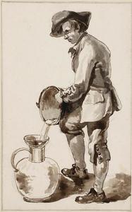 Een man giet melk in een kan