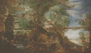 Een landschap met een molen en een rivier