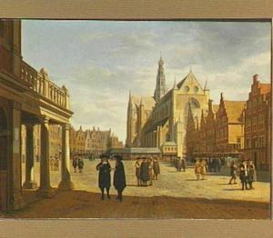 Grote Markt te Haarlem met het gezicht op de St. Bavo
