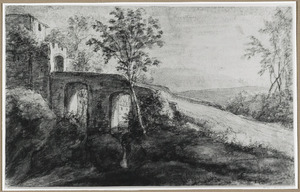Vervallen stenen brug met stadspoort