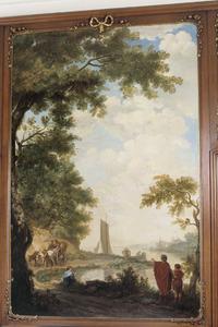Klassiek arcadisch riviergezicht met ossenkar en zeilschip