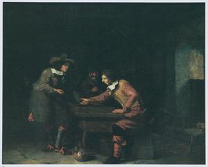 Trik-trak spelende mannen in een herberg