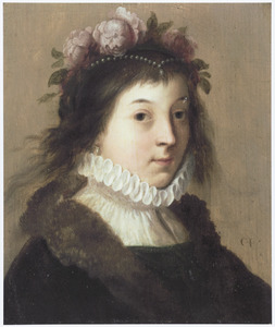 Portret van een jonge vrouw als Flora