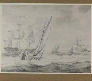 Beurtschip, fregat en andere schepen op woelige zee
