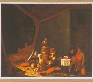 Stalinterieur met boerenpaar bij een stilleven van keukengerei en groenten