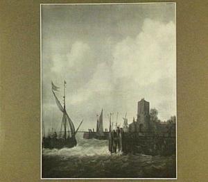 Havengezicht met binnenvaartschip, toren en molen