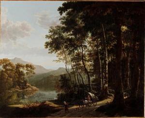 Bebost, bergachtig rivierlandschap met figuren