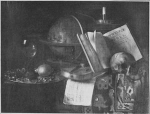 Vanitasstilleven met globe, schedel en viool