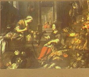 Keukeninterieur met een doorkijk met Christus bij Maria en Martha
