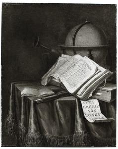 Vanitasstilleven met globe, boeken, een zandloper en muziekinstrumenten