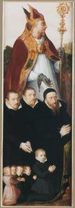 Groepsportret van mannelijke schenkers met een heilige bisschop (verso: Manspersoon met een heraldisch wapen)