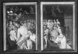 Tweeluik met Christus' verschijning aan Maria na zijn terugkeer uit het voorgeborchte (links), de stichtster (rechts)