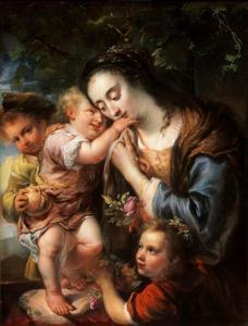Allegorisch portret van Maria Jens Martens (?-1690), vrouw van de schilder, met drie kinderen, als Caritas