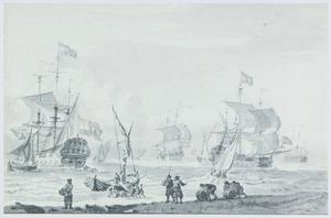 Kust met zeilschepen en het laden van tonnen