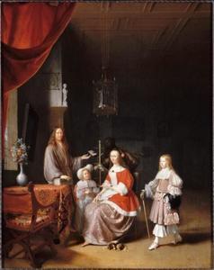 Portret van de familie van Francois Meerman (1630-1672) en Theodora van Hoogeveen (1630-?), met een bediende