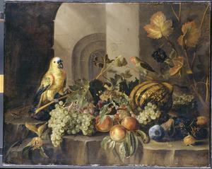Vruchtenstilleven met papegaaien