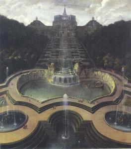 Zicht op op de residentie van Landgraf Karl van Kassel, van de Neptunebekken tot het octagon