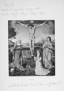 Christus aan het kruis met Maria en Johannes, aan de voet van het kruis een stichtster