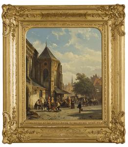 Marktscène op kerkplein