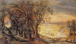 Winterlandschap met in de achtergrond de abdij van Groenendael
