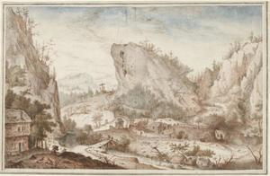 Alpenlandschap met dorp en figuren