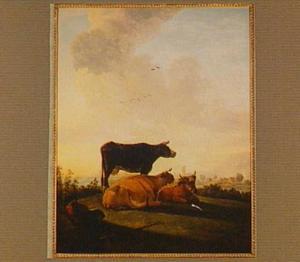 Landschap met drie koeien en een herder