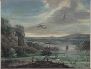 Uitgestrekt rivierlandschap met de val van Icarus