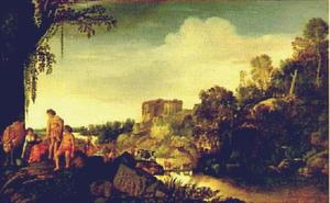 Arcadisch landschap met ruïnes en koeherders