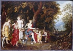 Diana en haar nimfen in het bos