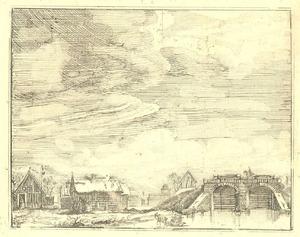 De sluis bij Geldersoord (Westervoort) in de winter