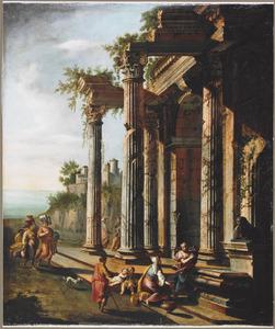 Figuren bij de ruïne van een klassieke tempel