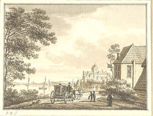 Gezicht op Nijmegen met het Valkhof vanuit het westen vanaf de Waaloever bij herberg de Batavia