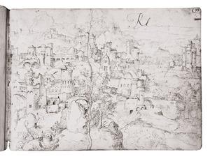 De herders gaan naar Bethlehem (?) en fantasie-architectuur in een berglandschap