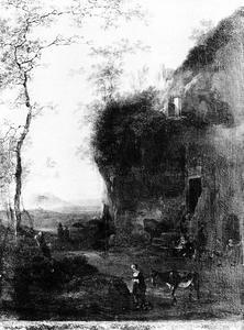 Zuidelijk landschap met op de voorgrond een vrouw met ezel