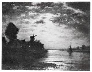 Rivier met windmolen in het maanlicht