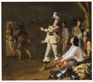 Wachtlokaal met vertrekkende soldaten