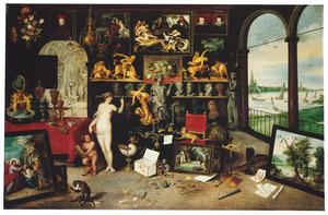 Allegorie van het gezicht (een van de vijf zintuigen): Venus en Cupido in een kunstgallerij met een doorkijk naar Antwerpen