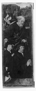 De stichter met zijn zoon en dochter en de H. Petrus