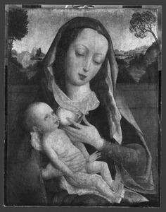 Maria met kind aan de borst voor een landschap