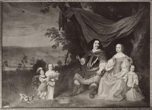 Portret van Christoph Delphicus zu Dohna (1628-1688) met zijn gezin