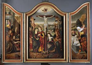 De kruisiging geflankeerd door de kruisdraging (links) en de graflegging (rechts)
