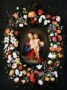 Guirlande van bloemen rond een voorstelling van de Madonna met kind