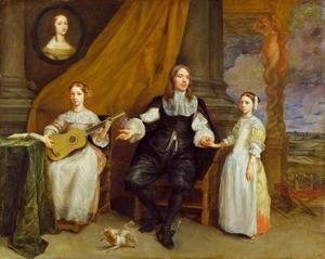 Portret van een onbekende man met zijn twee dochters