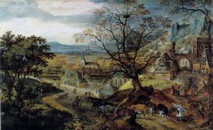 Landschap met een dorp