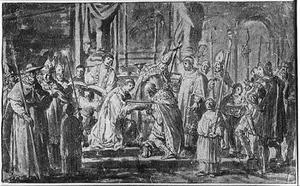 De doop van Harold Blauwtand (Harald I van Denemarken, 910-986)