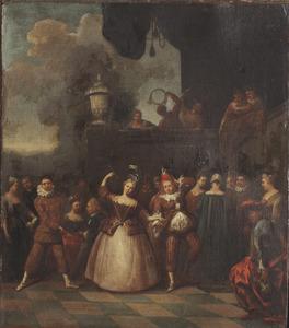 Vrolijk gezelschap met een dansend paar en een harlekijn, vanaf een balkon wordt muziek gespeeld