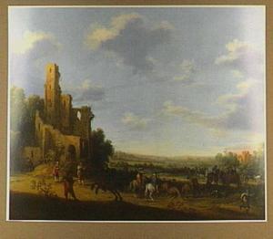 Een overval op reizigers; op de achtergrond een ruïne