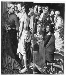 Retabel met het Laatste Oordeel uit de St-Albanskerk in Keulen: de H. Petrus begeleidt de uitverkorenen (links), de H. Johannes de Doper met zes apostelen (rechts)