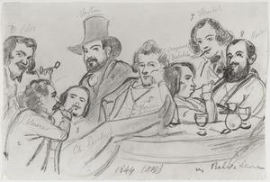 Groepsportret van David Bles (1821-1899) met zeven andere kunstenaars in café Belvédère te Den Haag