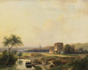 Duinlandschap met de ruïne van kasteel Brederode vanuit het zuidoosten, zonder het poortgebouw